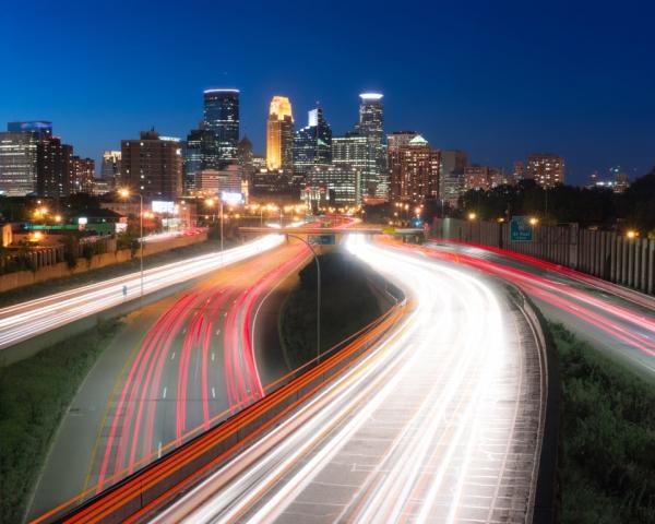 photograph of Minneapolis at night