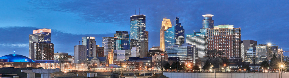 Photograph of Minneapolis downtown skyline.