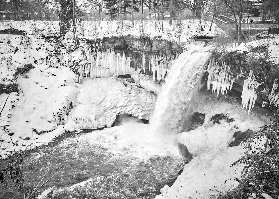 Winter photography of Minnehaha Falls in Minneapolis