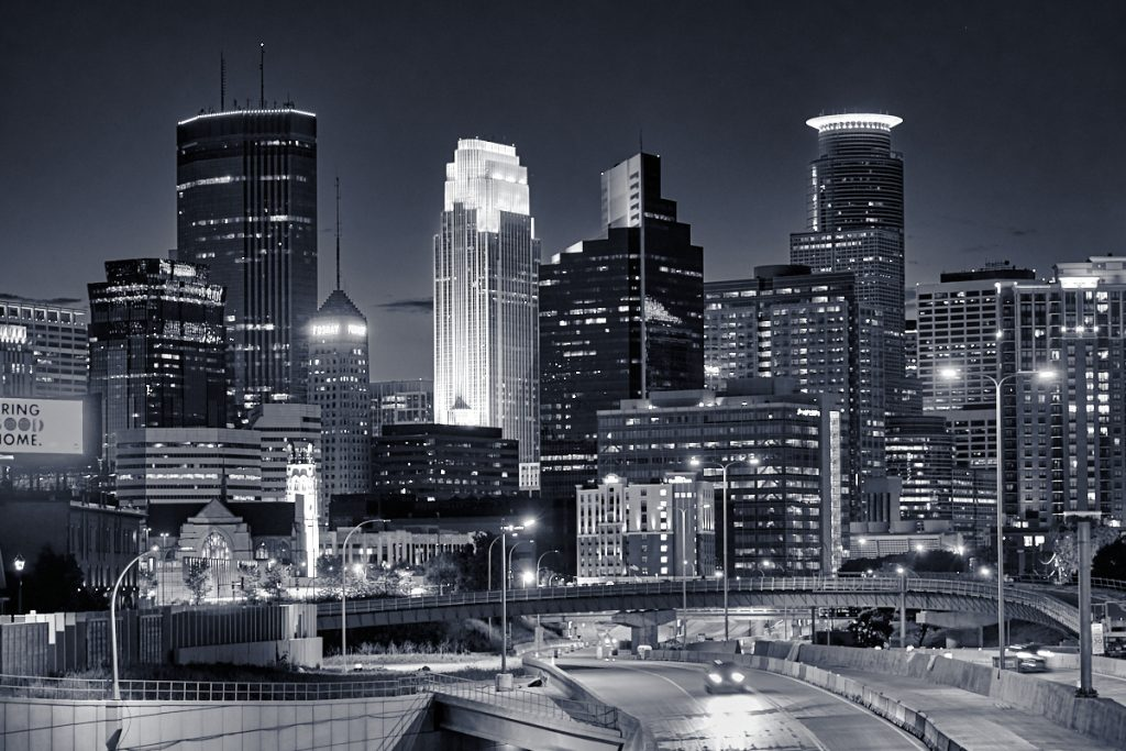 Photograph of Minneapolis at night