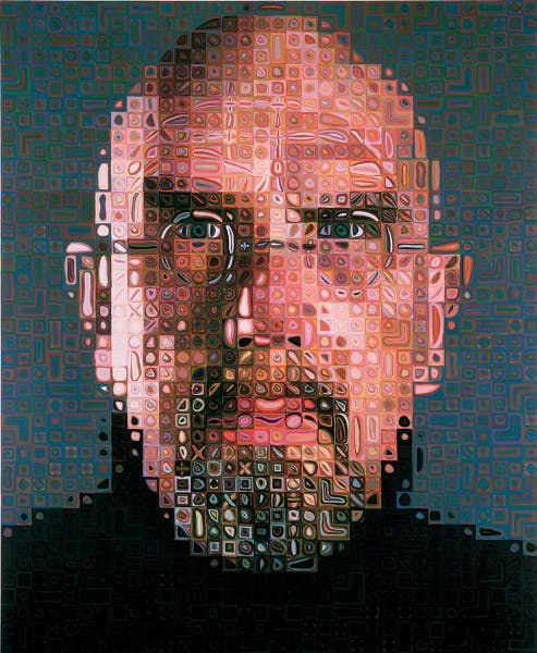 A self portrait by artist Chuck Close.