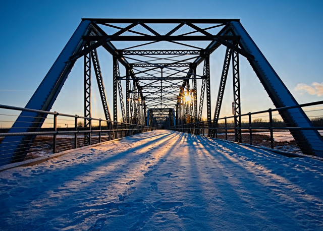 Photograph of the Old Cedar Bridge in Bloomington, Minnesota.